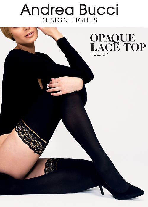 efd53e479549a Andrea Bucci Opaque Lace Top Hold Ups In Stock At UK Tights
