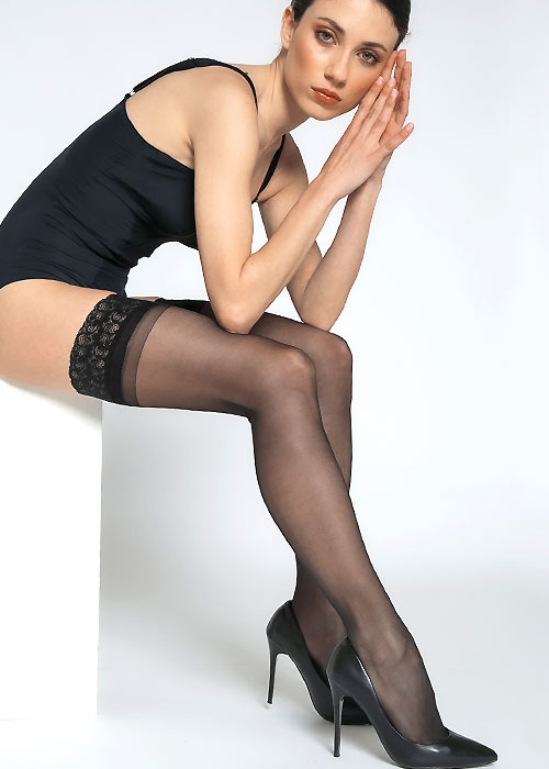 Andrea Bucci Silk Lace Top Hold Ups