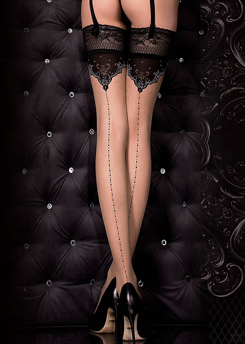 Ballerina Euterpe Dotted Backseamed Hold Ups Zoom 2