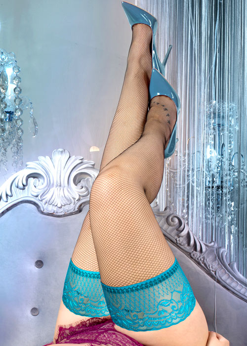 Ballerina Evangeline Fishnet Lace Top Plus Size Hold Ups Zoom 2