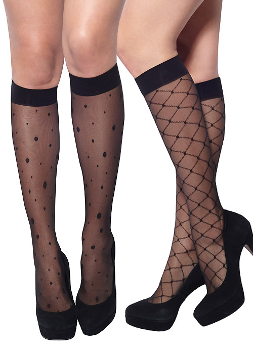 79c741e47 Charnos 15 Denier Patterned Knee Highs 2 Pair Pack In Stock At UK Tights