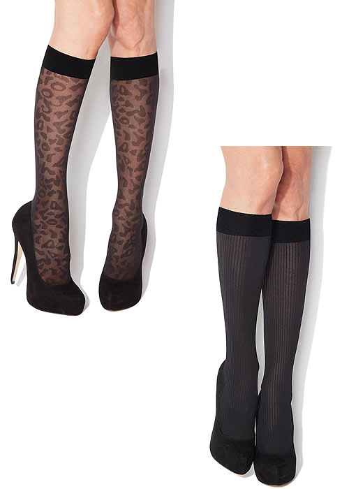 Charnos Animal and Rib Knee Highs 2 Pair Pack