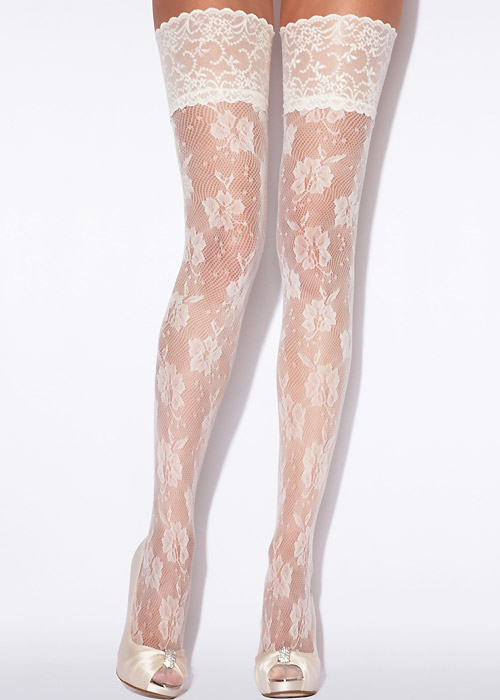 b591e28c553 Charnos Bridal Floral Net Hold Ups In Stock At UK Tights