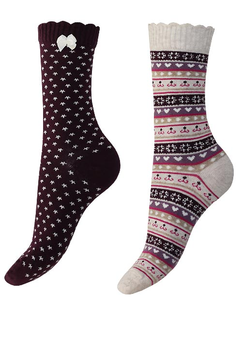 Charnos Hearts and Fairisle Sock 2 Pair Pack
