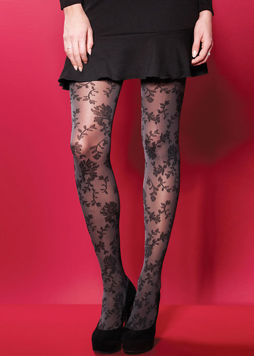 03704d082 Charnos Flower Patterned Opaque Tights In Stock At UK Tights