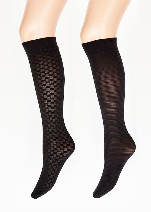 Charnos Opaque Patterned Knee Highs 2 Pair Pack