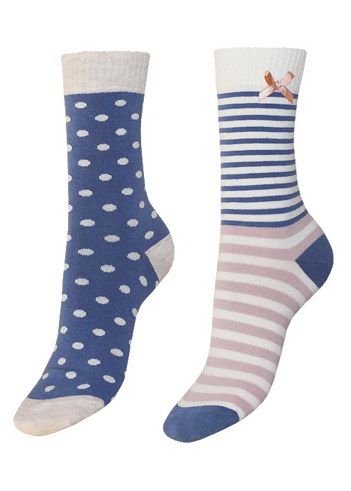 Charnos Spot and Stripe Sock 2 Pair Pack Navy Mix