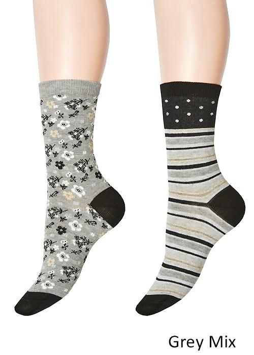 Charnos Stripe And Floral Socks 2PP