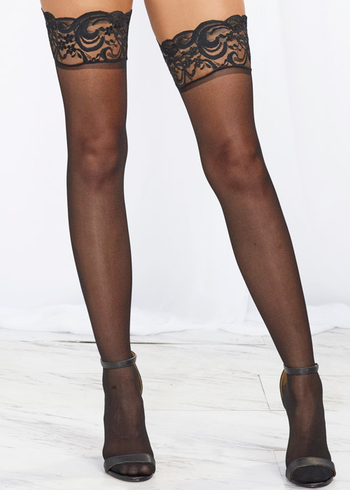 Dreamgirl Black Lace Top Silicone Sheer Hold Ups