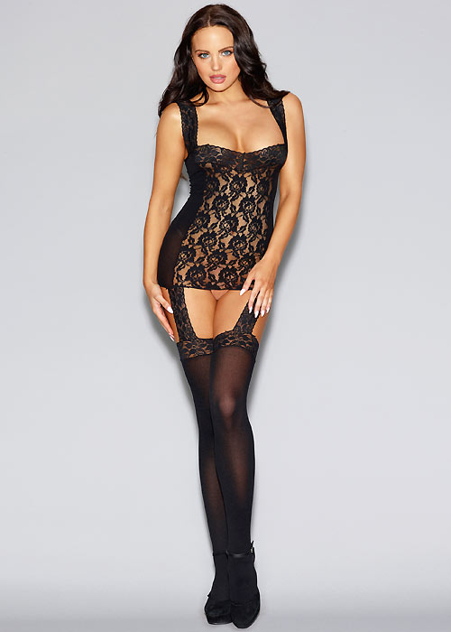 Dreamgirl Black Sheer and Stretch Lace Garter Dress