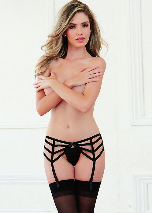 Dreamgirl Chevron Design Strappy Satin Garter Belt