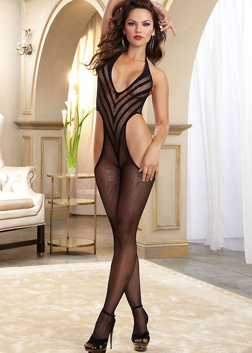 Dreamgirl Fishnet Halter Bodystocking With Opaque V
