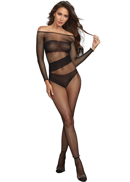 Dreamgirl Fishnet Opaque Detail Long Sleeve Bodystocking