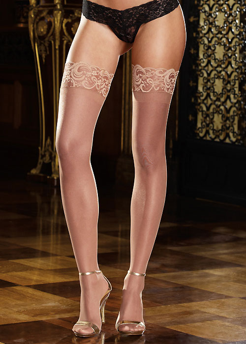 Dreamgirl Nude Lace Top Silicone Sheer Stockings