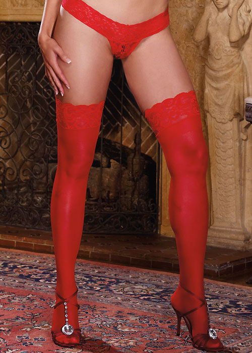 Dreamgirl Lace Top Silicone Sheer Stockings Queen Size Red