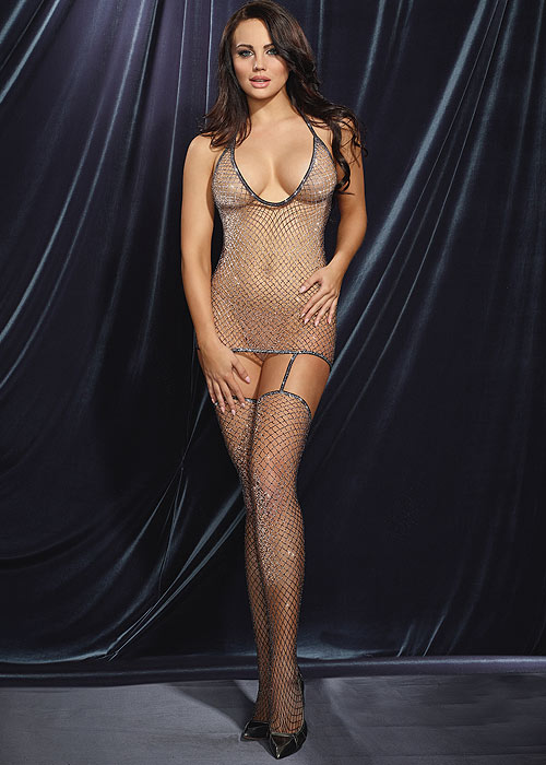 Dreamgirl Metallic Fishnet T Back Bodystocking