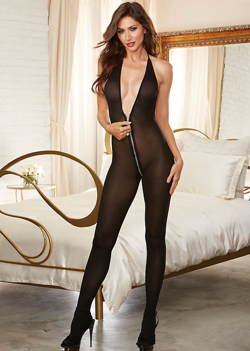 Dreamgirl Semi Opaque Halter Bodystocking With Functional Zip