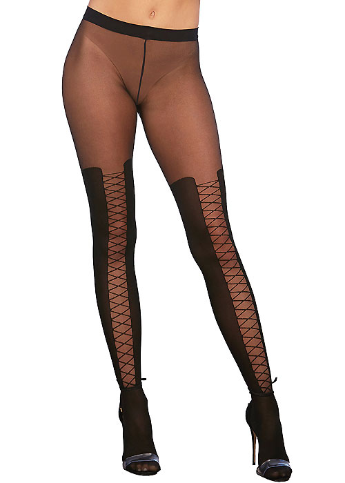 Dreamgirl Sheer Knitted Lace Up Boot Detail Pantyhose