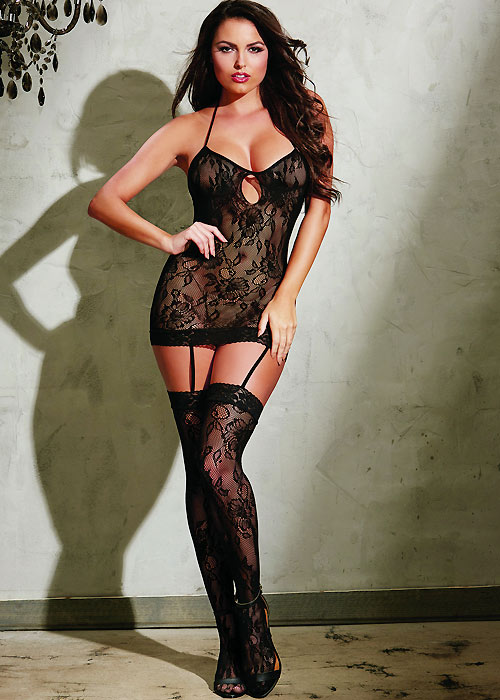 Dreamgirl Stretch Lace Garter Dress