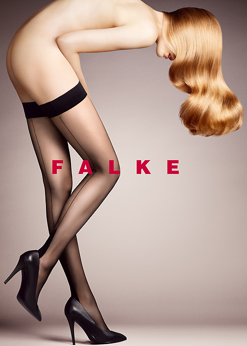 Falke High Heel Seamed Hold Ups - 12 Denier
