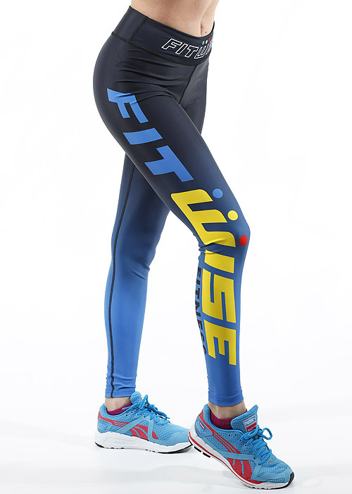 Fit Wise Blue Ombre Full Length Fitness Leggings