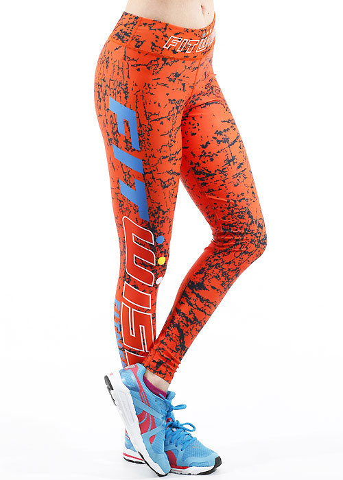 Fit Wise Orange Crackle Full Length Fitness Leggings