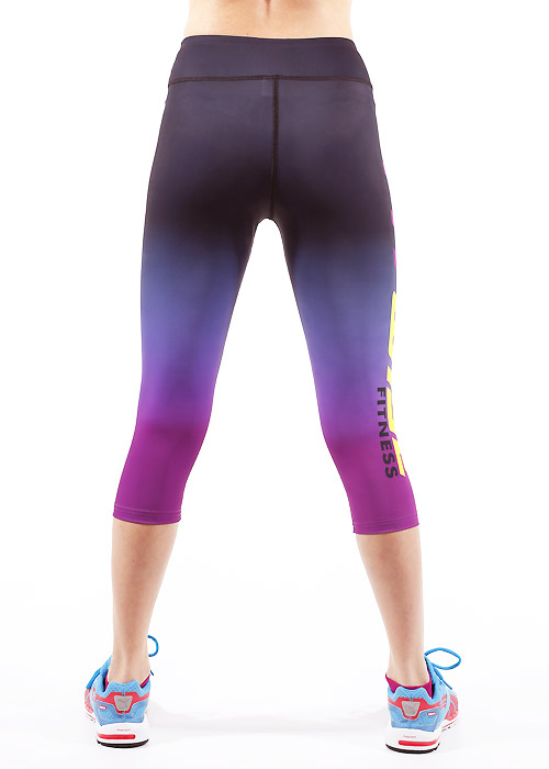 Fit Wise Purple Ombre Capri Fitness Leggings Zoom 2