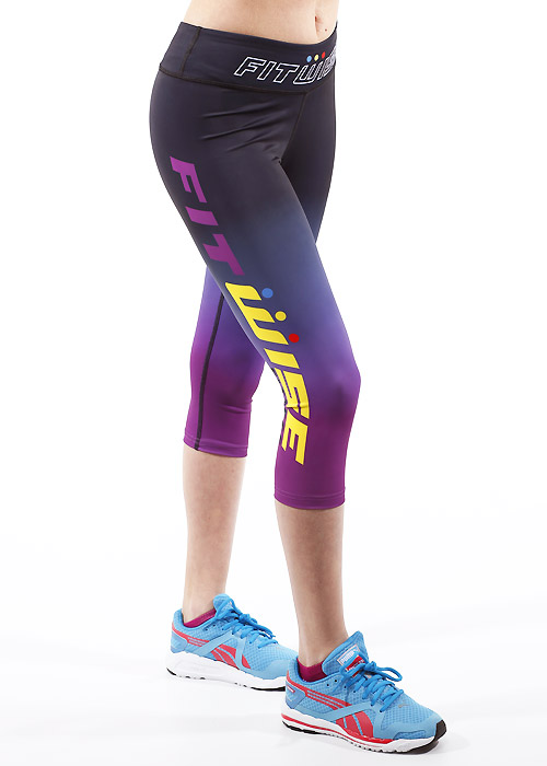 Fit Wise Purple Ombre Capri Fitness Leggings