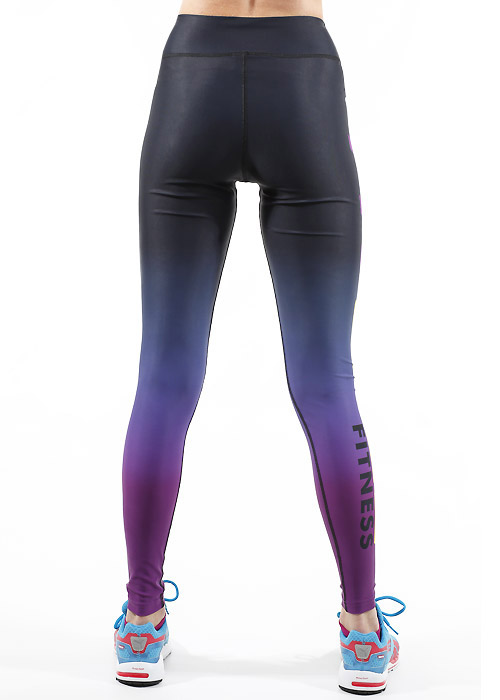 Fit Wise Purple Ombre Full Length Fitness Leggings Zoom 2