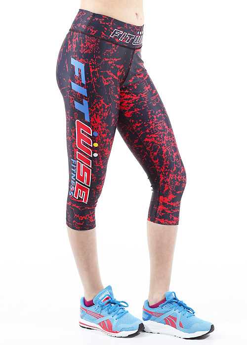Fit Wise Red Crackle Capri Fitness Leggings