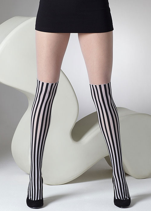 Victorian Stockings, Socks, Hosiery, Tights Gipsy Monochrome Mock Over The Knee Tights £6.99 AT vintagedancer.com