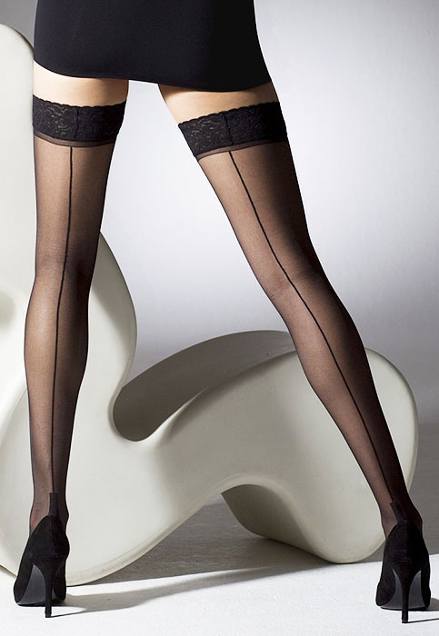dade8d2a7 Gipsy Seamed Cuban Heel Hold Ups In Stock At UK Tights