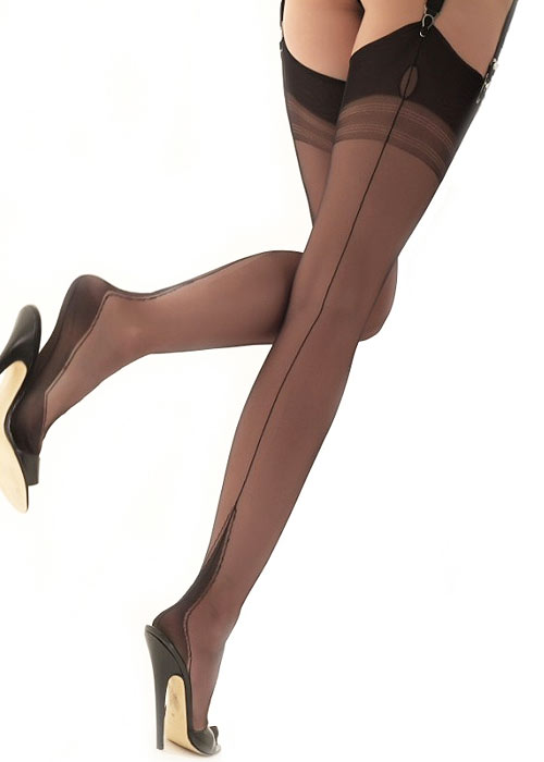 Gio Fully Fashioned Harmony Point Heel Vintage Stockings