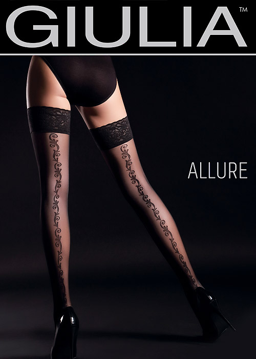 Giulia Allure Floral Backseam Hold Ups N.2