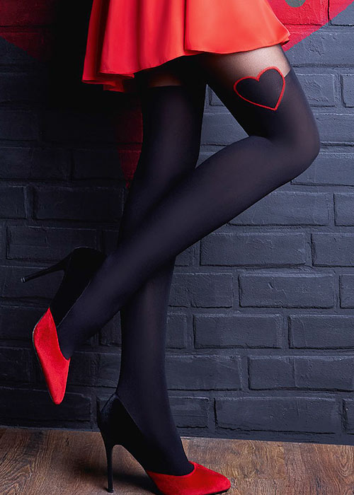 Seamed Stockings, Nylons, Tights Giulia Enjoy Love Fashion Tights £8.99 AT vintagedancer.com