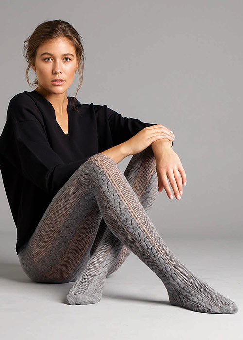 Jonathan Aston Cable Knit Stripe Tights