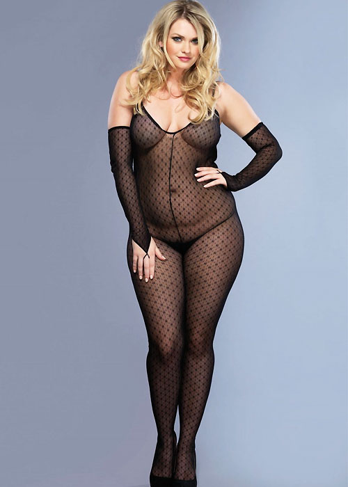 Leg Avenue Plus Size 2 Piece Mini Daisy Bodystocking With Matching Fingerless Gloves (8254Q)