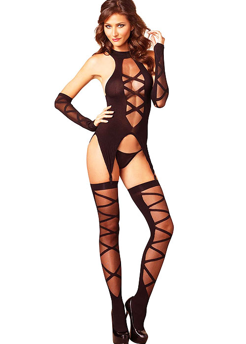 Leg Avenue 3 Piece Camigarter Stockings And Gloves Set