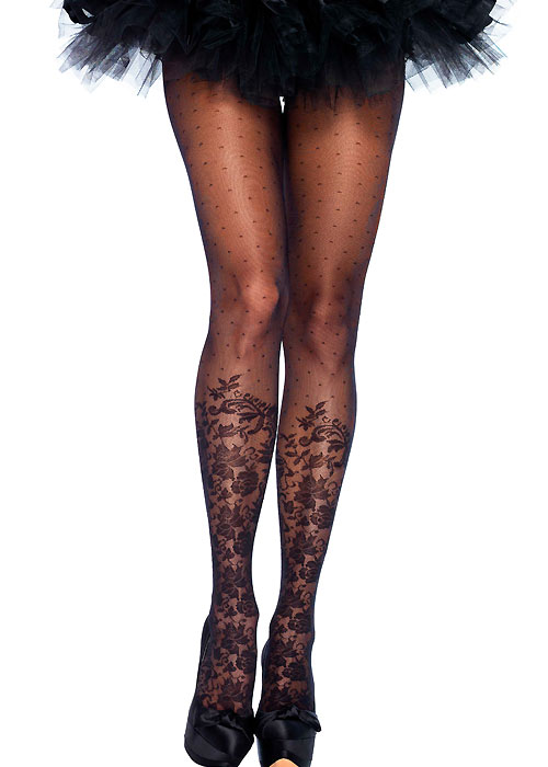 Leg Avenue Dotted Sheer Tights With Knee High Floral Accent