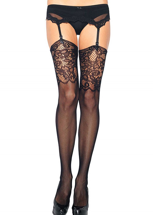 Leg Avenue Fishnet Stocking With Detailed Lace Top (1927)