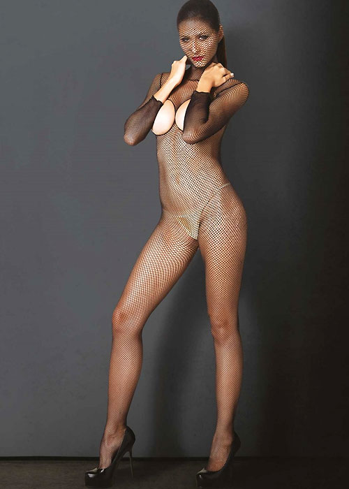 Leg Avenue KINK Hooded Fishnet Cupless Crotchless Bodystocking