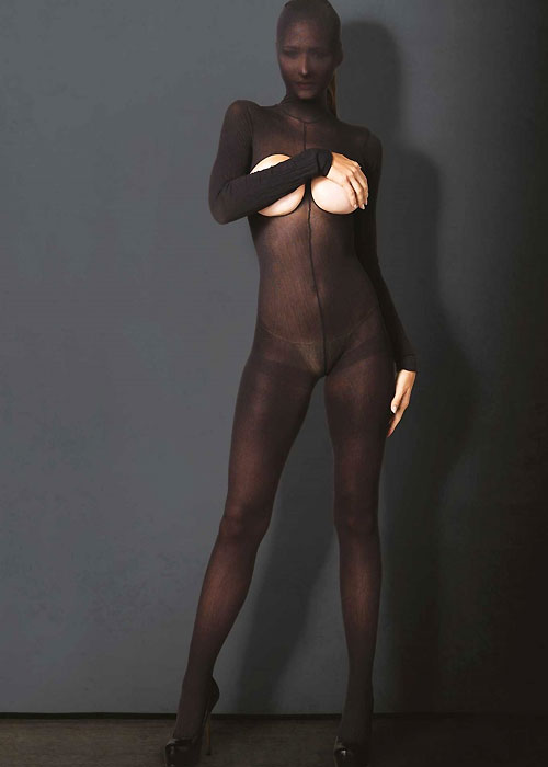 Leg Avenue KINK Hooded Opaque Cupless Crotchless Bodystocking