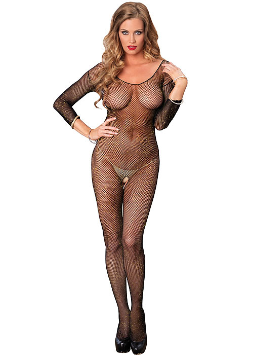 4a322758acb Leg Avenue Long Sleeved Fishnet Lurex Bodystocking In Stock At UK Tights