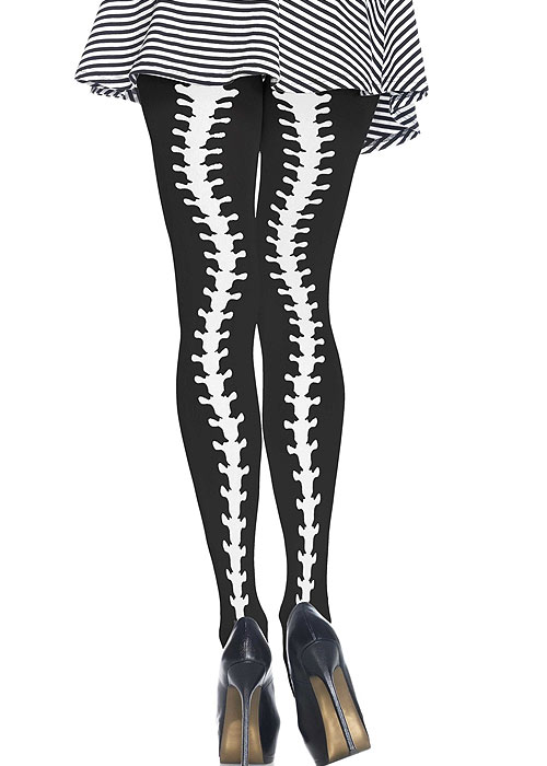 Vintage Retro Halloween Themed Clothing Leg Avenue Opaque Spine Column Print Tights £12.99 AT vintagedancer.com