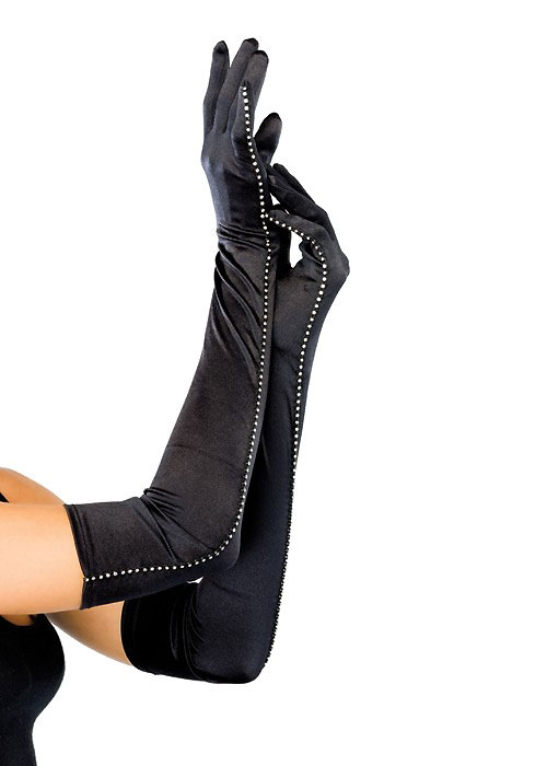 Leg Avenue Opera Length Satin Gloves With Rhinestone Trim