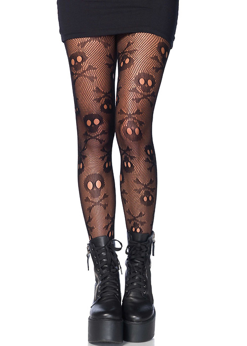 Leg Avenue Pirate Skull Fishnet Tights
