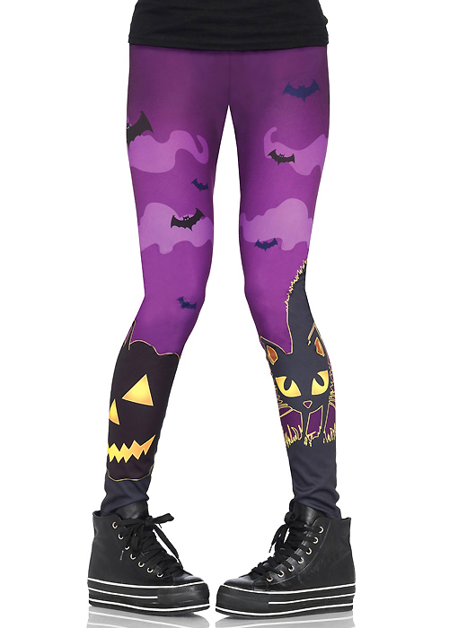 Leg Avenue Scaredy Cat Spooky Print Leggings
