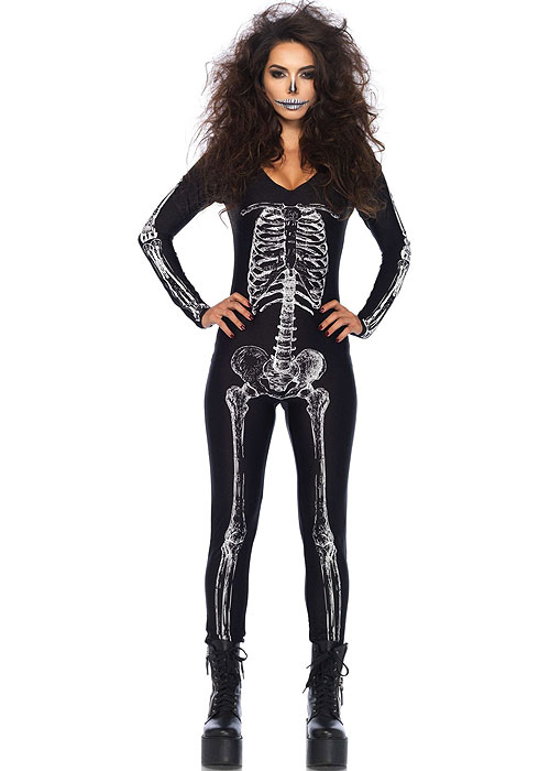 Leg Avenue X-Ray Skeleton Catsuit With Zipper Back