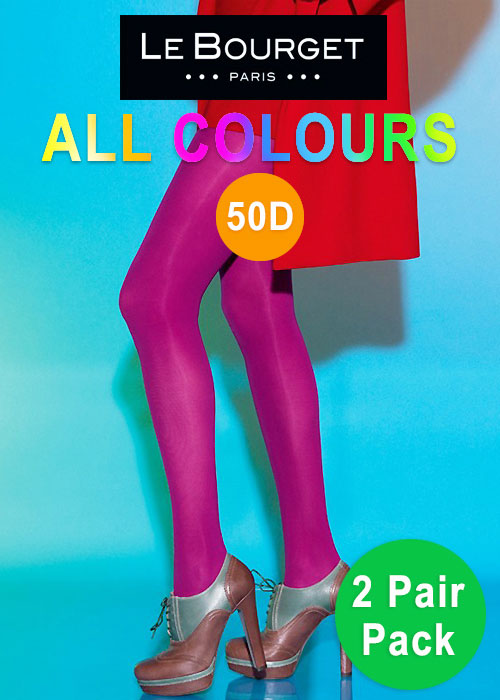 Le Bourget All Colours Slide Touch 50D Opaque Tights 2 Pair Pack