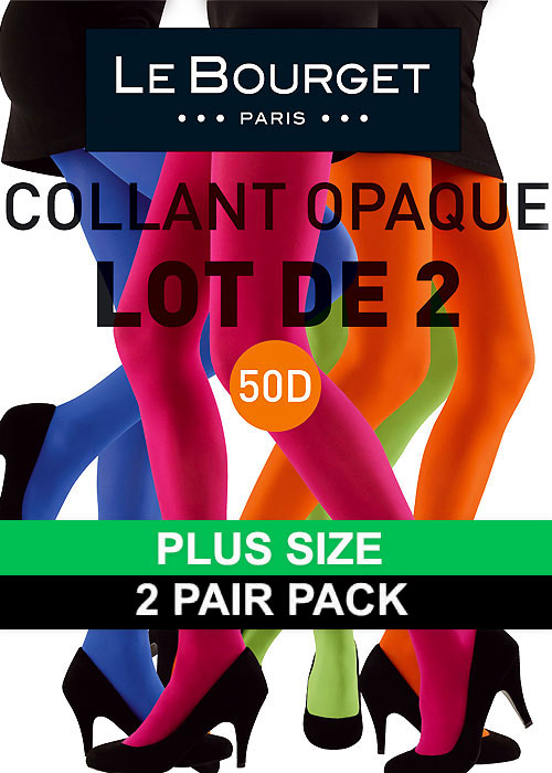 Le Bourget All Colours Slide Touch 50D Plus Size Opaque Tights 2 Pair Pack
